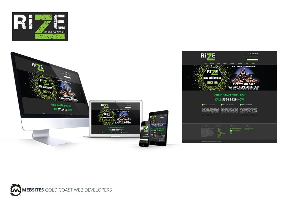 Rize Dance Company - Web Design for Wordpress